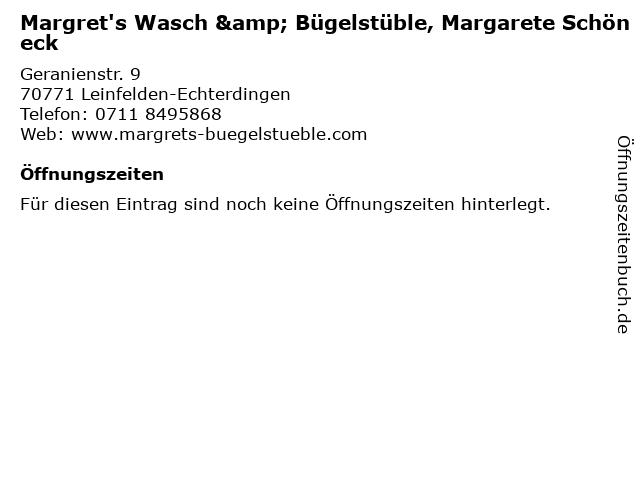 Margret's Wasch & Bügelstüble, Margarete Schöneck in Leinfelden-Echterdingen: Adresse und Öffnungszeiten