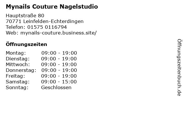 Mynails Couture Nagelstudio in Leinfelden-Echterdingen: Adresse und Öffnungszeiten