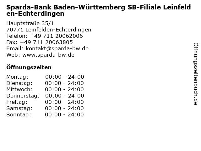 Sparda-Bank Baden-Württemberg SB-Filiale Leinfelden-Echterdingen in Leinfelden-Echterdingen: Adresse und Öffnungszeiten