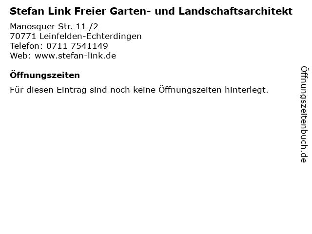 Stefan Link Freier Garten- und Landschaftsarchitekt in Leinfelden-Echterdingen: Adresse und Öffnungszeiten