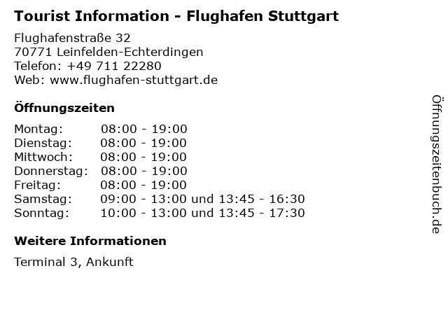 Tourist Information - Flughafen Stuttgart in Leinfelden-Echterdingen: Adresse und Öffnungszeiten