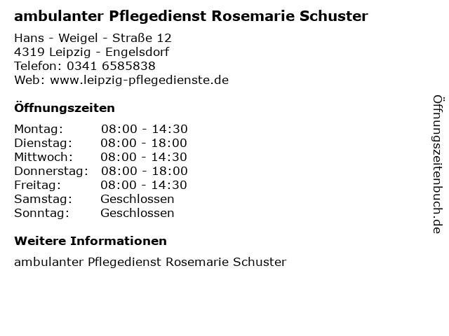 ambulanter Pflegedienst Rosemarie Schuster in Leipzig - Engelsdorf: Adresse und Öffnungszeiten