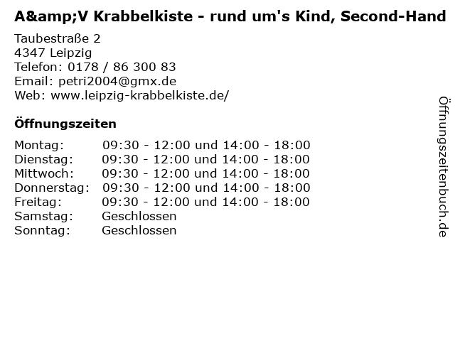 A&V Krabbelkiste - rund um's Kind, Second-Hand in Leipzig: Adresse und Öffnungszeiten