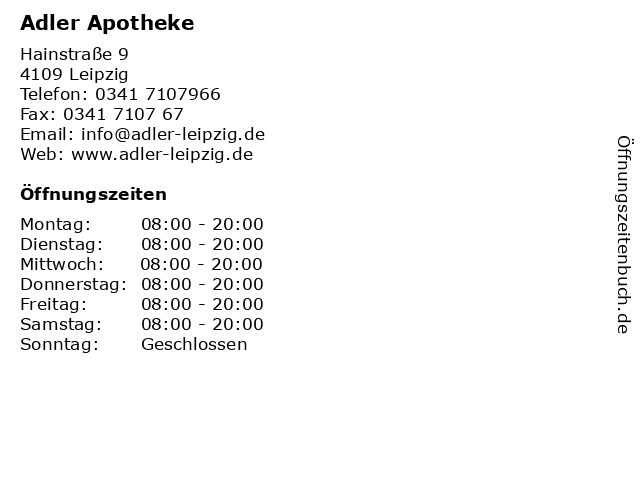 Adler Apotheke in Leipzig: Adresse und Öffnungszeiten