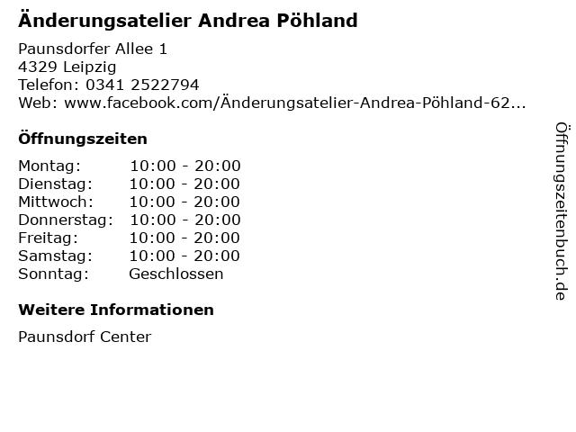 Änderungsatelier Andrea Pöhland in Leipzig: Adresse und Öffnungszeiten