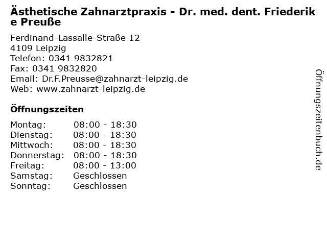 Ästhetische Zahnarztpraxis - Dr. med. dent. Friederike Preuße in Leipzig: Adresse und Öffnungszeiten