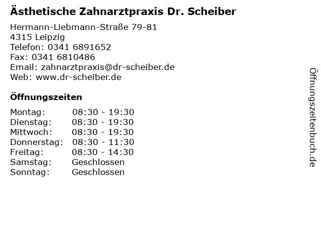 Ästhetische Zahnarztpraxis Dr. Scheiber in Leipzig: Adresse und Öffnungszeiten