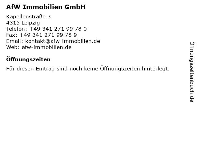 AfW Immobilien GmbH in Leipzig: Adresse und Öffnungszeiten