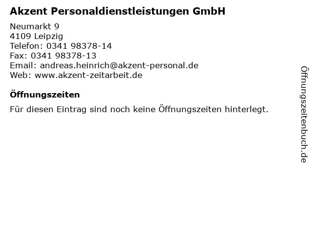 Akzent Personaldienstleistungen GmbH in Leipzig: Adresse und Öffnungszeiten