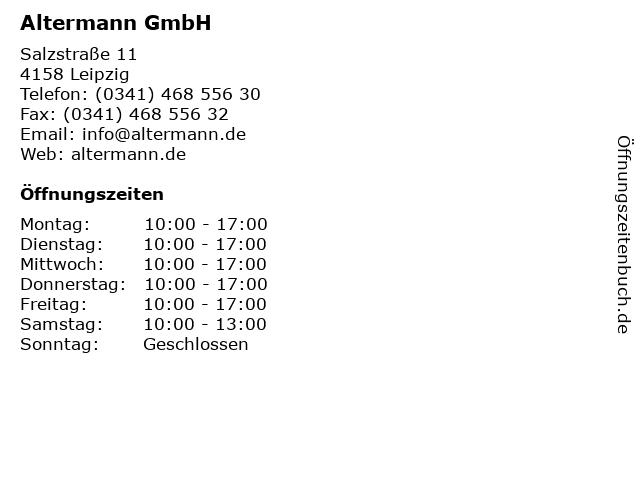 Altermann GmbH in Leipzig: Adresse und Öffnungszeiten