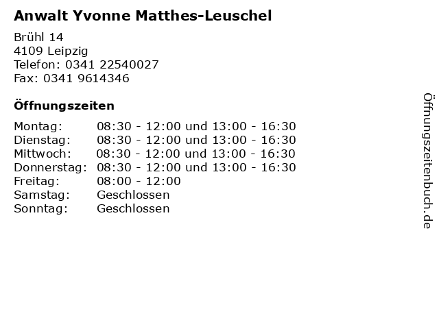 Anwalt Yvonne Matthes-Leuschel in Leipzig: Adresse und Öffnungszeiten