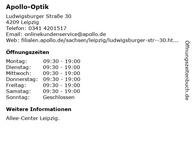 Apollo-Optik Holding GmbH & Co. KG in Leipzig: Adresse und Öffnungszeiten