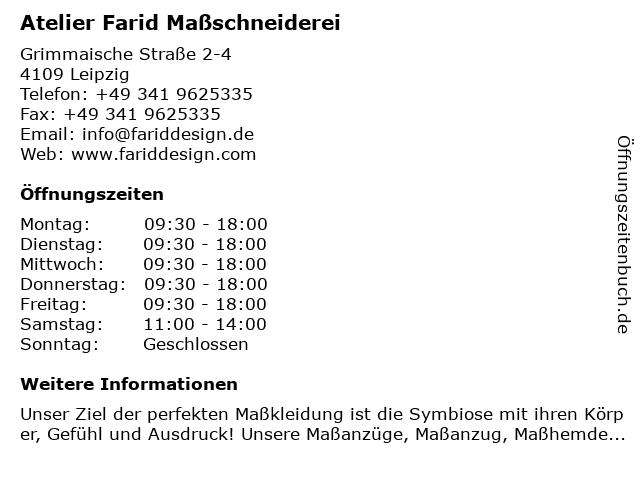 Atelier Farid Maßschneiderei in Leipzig: Adresse und Öffnungszeiten