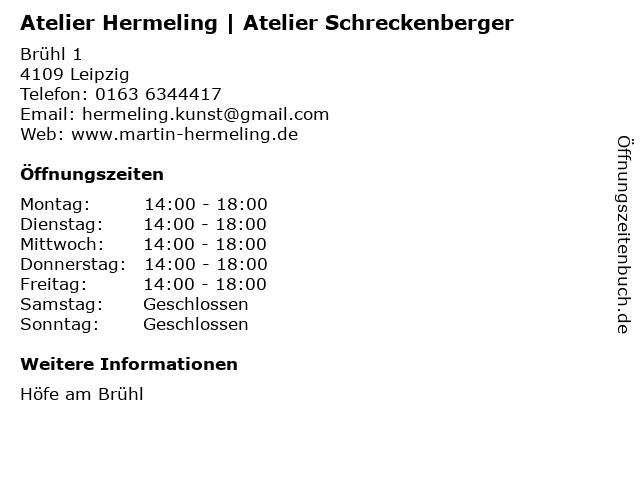 Atelier Hermeling | Atelier Schreckenberger in Leipzig: Adresse und Öffnungszeiten