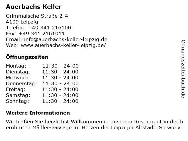 Auerbachs Keller in Leipzig: Adresse und Öffnungszeiten
