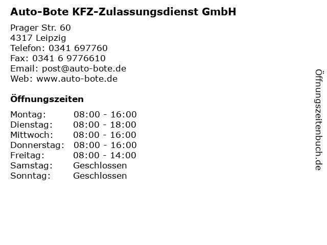 Auto-Bote KFZ-Zulassungsdienst GmbH in Leipzig: Adresse und Öffnungszeiten