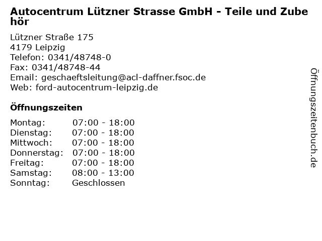 Autocentrum Lützner Strasse GmbH - Teile und Zubehör in Leipzig: Adresse und Öffnungszeiten