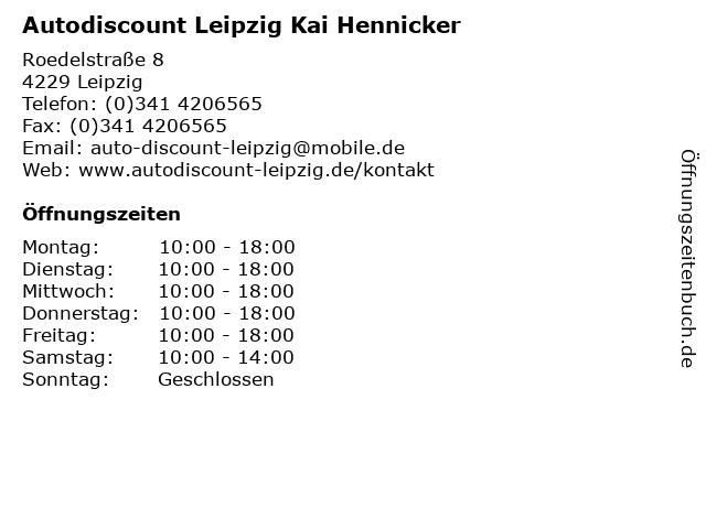 ᐅ öffnungszeiten Autodiscount Leipzig Kai Hennicker
