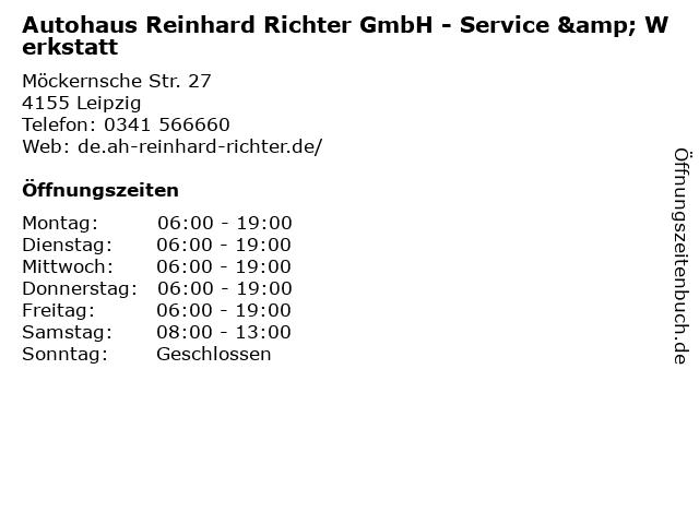 Autohaus Reinhard Richter GmbH - Service & Werkstatt in Leipzig: Adresse und Öffnungszeiten