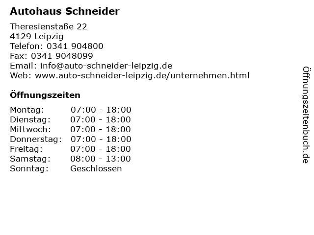 Autohaus Schneider in Leipzig: Adresse und Öffnungszeiten