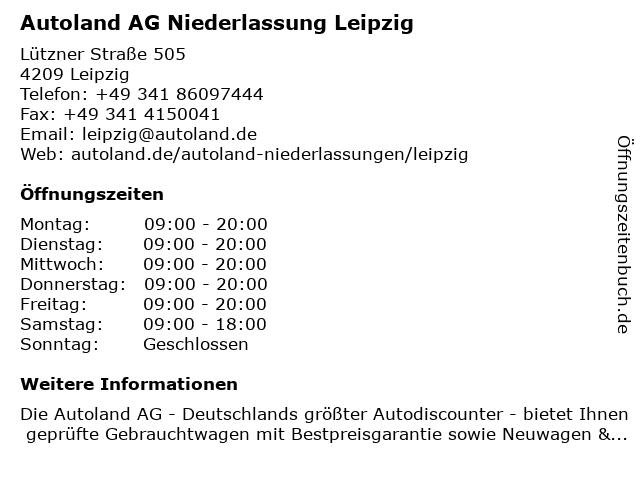 Autoland AG Niederlassung Leipzig in Leipzig: Adresse und Öffnungszeiten