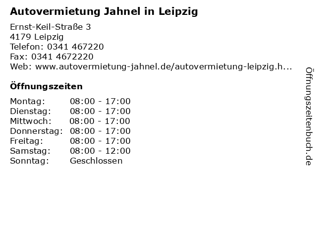 Autovermietung Jahnel in Leipzig in Leipzig: Adresse und Öffnungszeiten