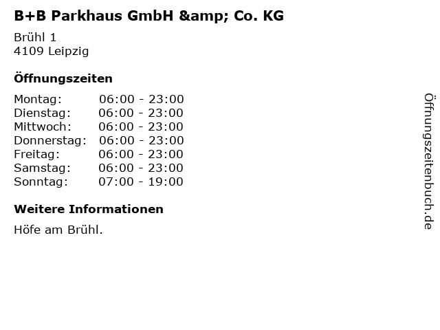 B+B Parkhaus GmbH & Co. KG in Leipzig: Adresse und Öffnungszeiten