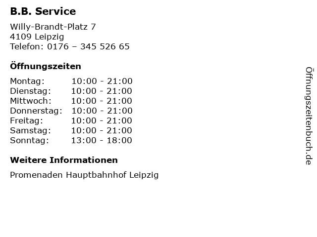 B.B. Service in Leipzig: Adresse und Öffnungszeiten