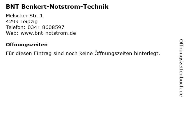 BNT Benkert-Notstrom-Technik in Leipzig: Adresse und Öffnungszeiten