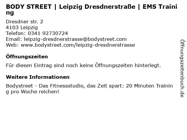 BODY STREET | Leipzig Dresdnerstraße | EMS Training in Leipzig: Adresse und Öffnungszeiten