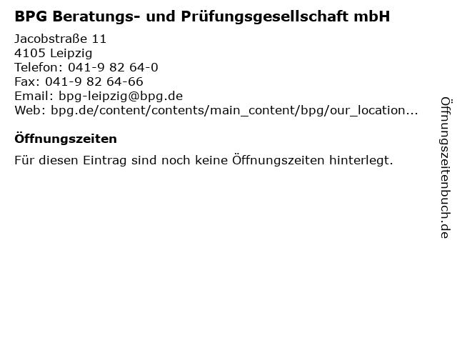 BPG Beratungs- und Prüfungsgesellschaft mbH in Leipzig: Adresse und Öffnungszeiten