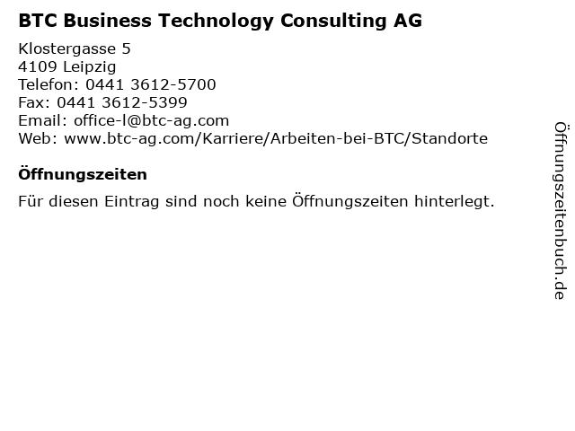 BTC Business Technology Consulting AG in Leipzig: Adresse und Öffnungszeiten