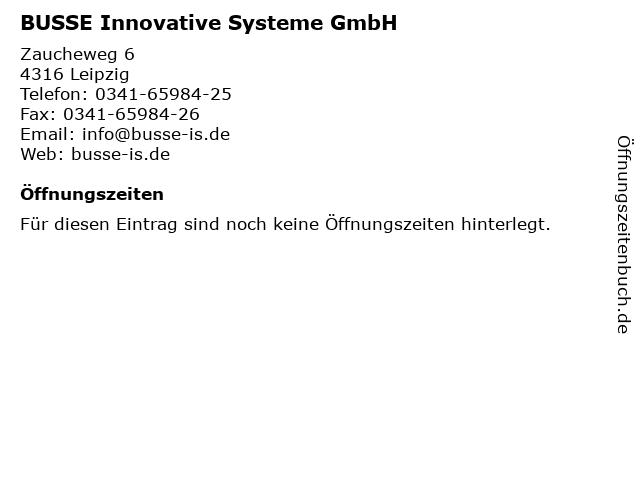 BUSSE Innovative Systeme GmbH in Leipzig: Adresse und Öffnungszeiten