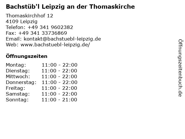 Bachstüb'l Leipzig an der Thomaskirche in Leipzig: Adresse und Öffnungszeiten