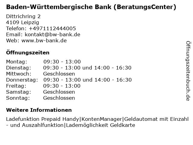 Baden-Württembergische Bank - Filiale Leipzig in Leipzig: Adresse und Öffnungszeiten