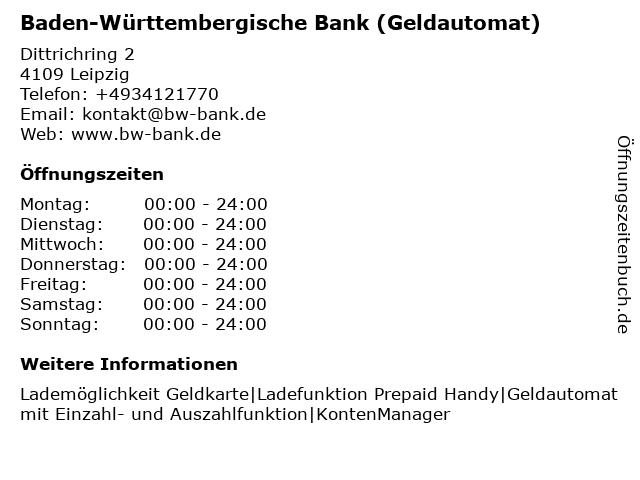 Baden-Württembergische Bank - Filiale Leipzig (Geldautomat) in Leipzig: Adresse und Öffnungszeiten