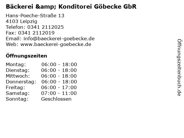 Bäckerei & Konditorei Göbecke GbR in Leipzig: Adresse und Öffnungszeiten