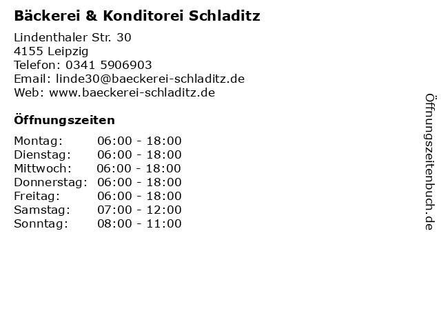 Bäckerei & Konditorei Schladitz in Leipzig: Adresse und Öffnungszeiten