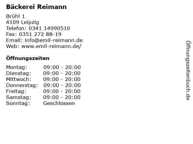 Bäckerei Reimann in Leipzig: Adresse und Öffnungszeiten