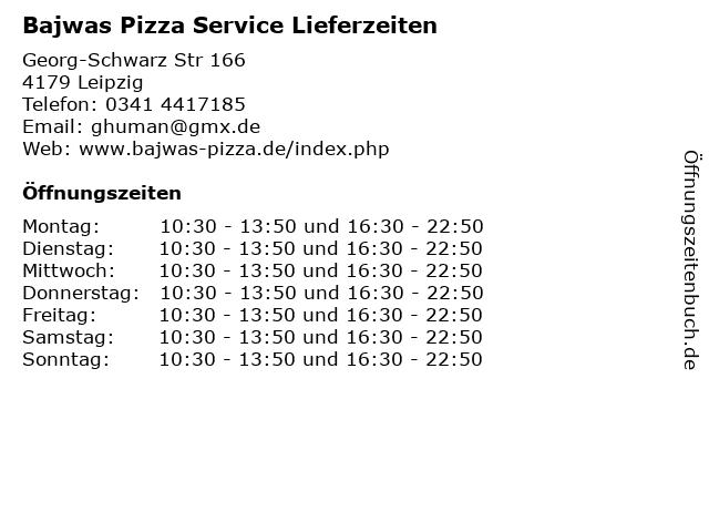 Bajwas Pizza Service Lieferzeiten in Leipzig: Adresse und Öffnungszeiten