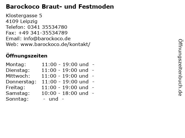 Barockoco Braut- und Festmoden in Leipzig: Adresse und Öffnungszeiten