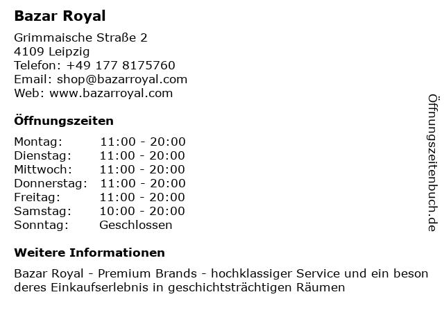 Bazar Royal in Leipzig: Adresse und Öffnungszeiten