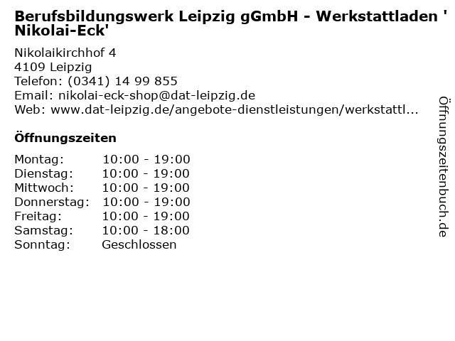 Berufsbildungswerk Leipzig gGmbH - Werkstattladen 'Nikolai-Eck' in Leipzig: Adresse und Öffnungszeiten
