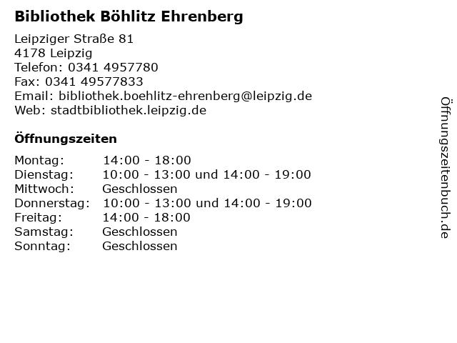 Bibliothek Böhlitz Ehrenberg in Leipzig: Adresse und Öffnungszeiten