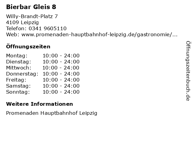 Bierbar Gleis 8 in Leipzig: Adresse und Öffnungszeiten