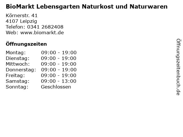 BioMarkt Lebensgarten Naturkost und Naturwaren in Leipzig: Adresse und Öffnungszeiten