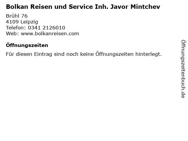 Bolkan Reisen und Service Inh. Javor Mintchev in Leipzig: Adresse und Öffnungszeiten