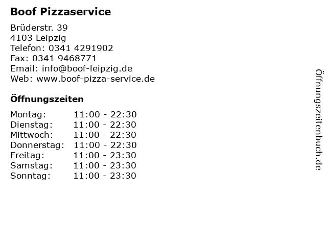 Boof Pizzaservice in Leipzig: Adresse und Öffnungszeiten