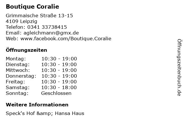 Boutique Coralie in Leipzig: Adresse und Öffnungszeiten