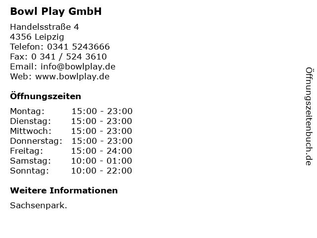 Bowl Play GmbH in Leipzig: Adresse und Öffnungszeiten
